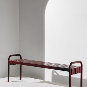 Outdoor Bench, powder-coated steel, Manor red